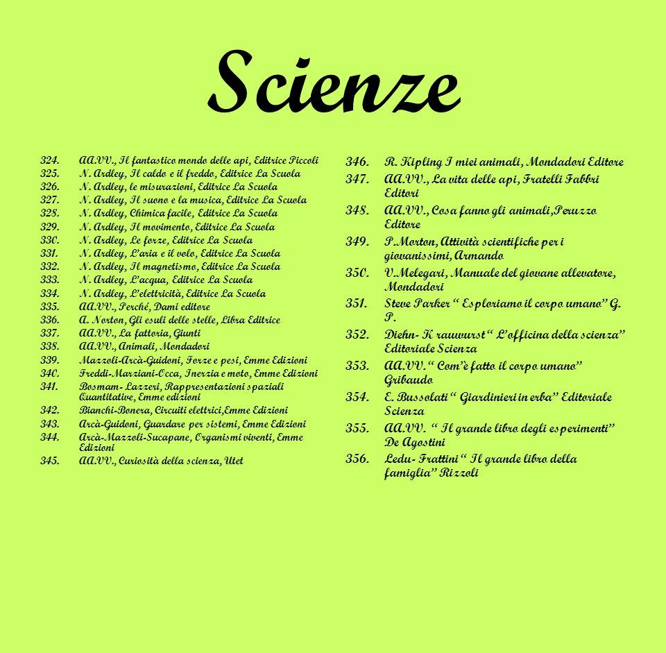 Scienze 324.AA.VV., Il fantastico mondo delle api, Editrice Piccoli 325.N. Ardley, Il caldo e il freddo, Editrice La Scuola 326.N. Ardley, le misurazi