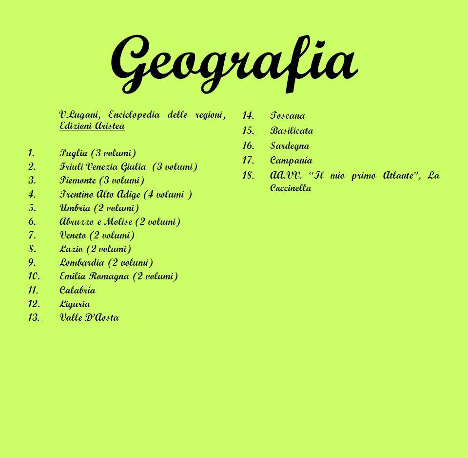 Geografia V.Lugani, Enciclopedia delle regioni, Edizioni Aristea 1.Puglia (3 volumi) 2.Friuli Venezia Giulia (3 volumi) 3.Piemonte (3 volumi) 4.Trenti