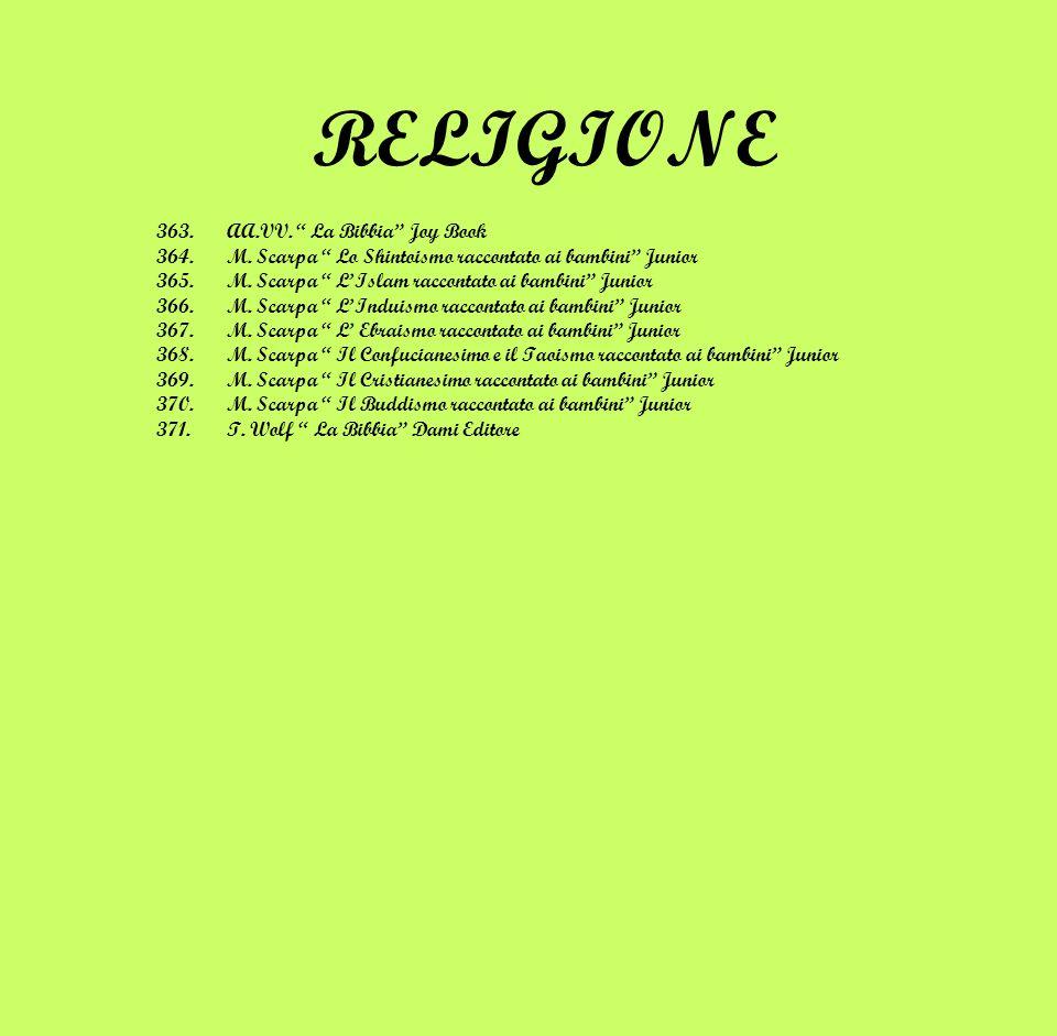 RELIGIONE 363.AA.VV. La Bibbia Joy Book 364.M. Scarpa Lo Shintoismo raccontato ai bambini Junior 365.M. Scarpa LIslam raccontato ai bambini Junior 366