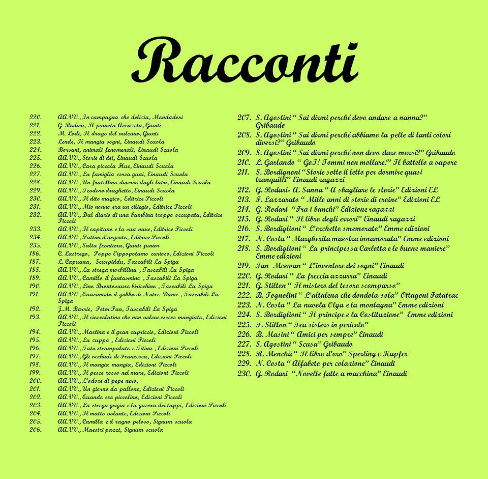 Racconti 220.AA.VV., In campagna che delizia, Mondadori 221.G. Rodari, Il pianeta Accazeta, Giunti 222.M. Lodi, Il drago del vulcano, Giunti 223.Lende
