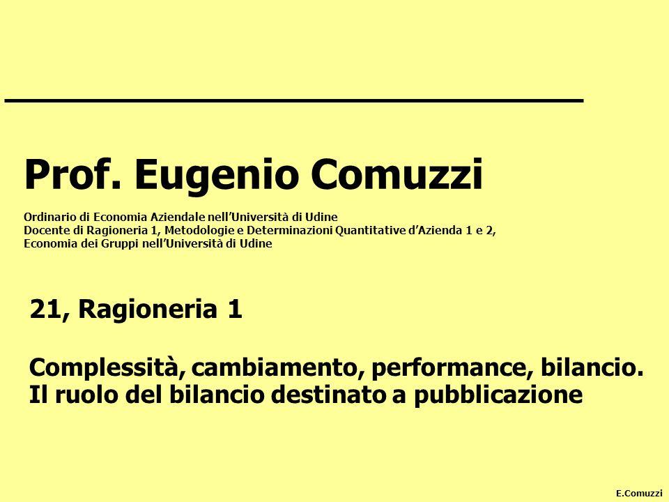E.Comuzzi Prof. Eugenio Comuzzi Ordinario di Economia Aziendale nellUniversità di Udine Docente di Ragioneria 1, Metodologie e Determinazioni Quantita