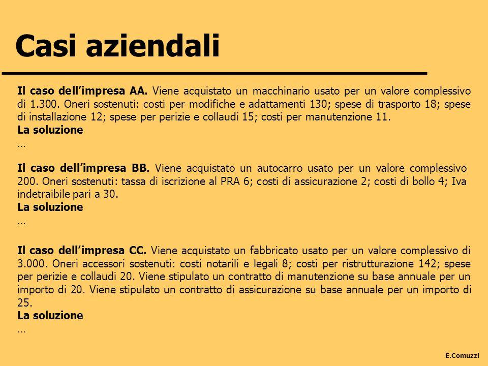 E.Comuzzi Casi aziendali Il caso dellimpresa AA. Viene acquistato un macchinario usato per un valore complessivo di 1.300. Oneri sostenuti: costi per