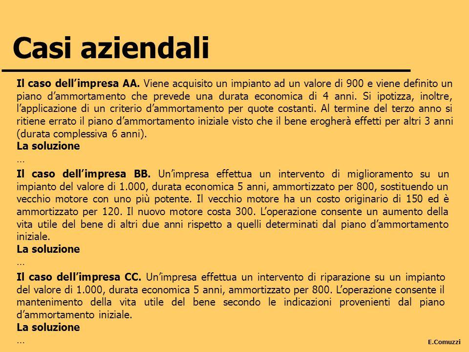 E.Comuzzi Casi aziendali Il caso dellimpresa AA. Viene acquisito un impianto ad un valore di 900 e viene definito un piano dammortamento che prevede u
