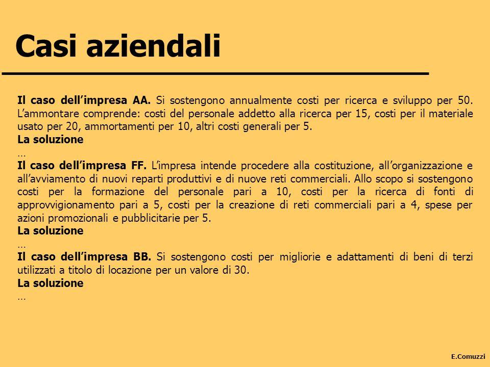 E.Comuzzi Casi aziendali Il caso dellimpresa AA. Si sostengono annualmente costi per ricerca e sviluppo per 50. Lammontare comprende: costi del person