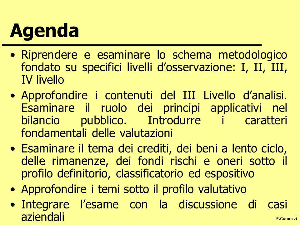 E.Comuzzi Agenda Riprendere e esaminare lo schema metodologico fondato su specifici livelli dosservazione: I, II, III, IV livello Approfondire i conte