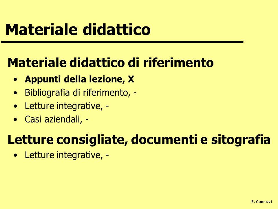 E. Comuzzi Materiale didattico Materiale didattico di riferimento Appunti della lezione, X Bibliografia di riferimento, - Letture integrative, - Casi