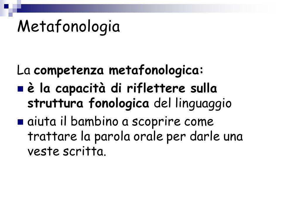 Metafonologia La competenza metafonologica: è la capacità di riflettere sulla struttura fonologica del linguaggio aiuta il bambino a scoprire come trattare la parola orale per darle una veste scritta.