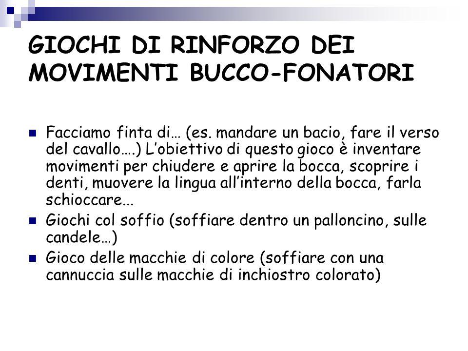 GIOCHI DI RINFORZO DEI MOVIMENTI BUCCO-FONATORI Facciamo finta di… (es.