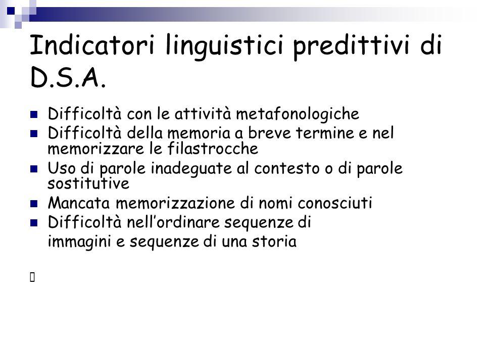Indicatori linguistici predittivi di D.S.A.