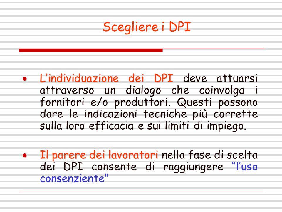 Scegliere i DPI Lindividuazione dei DPI Lindividuazione dei DPI deve attuarsi attraverso un dialogo che coinvolga i fornitori e/o produttori.