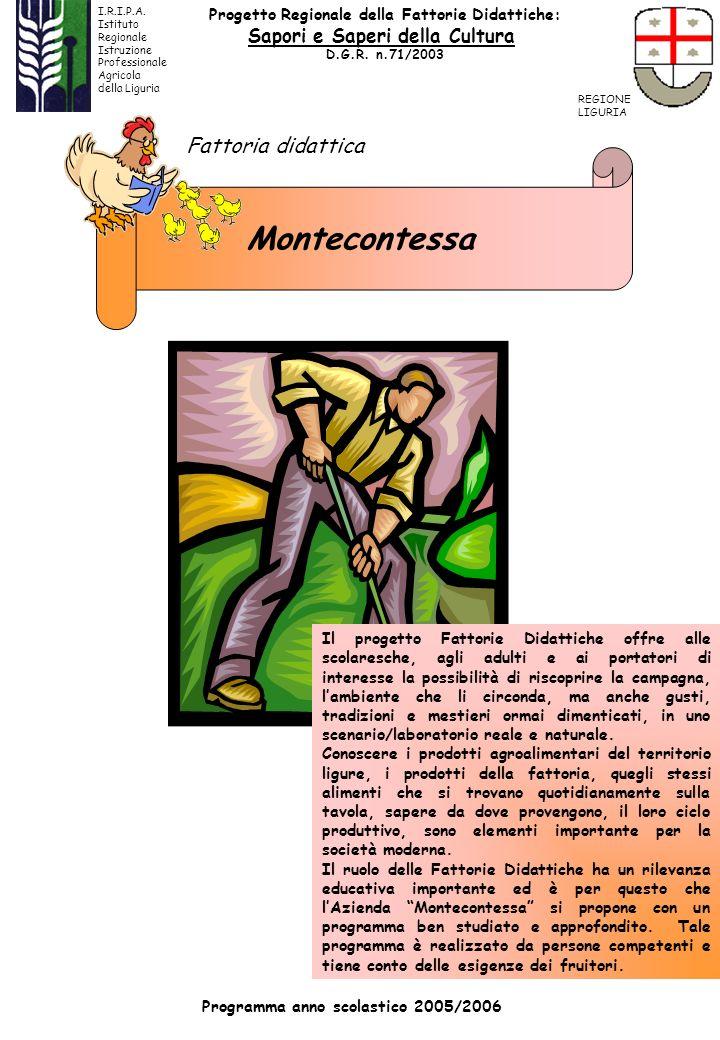 Montecontessa Fattoria didattica Programma anno scolastico 2005/2006 Il progetto Fattorie Didattiche offre alle scolaresche, agli adulti e ai portator