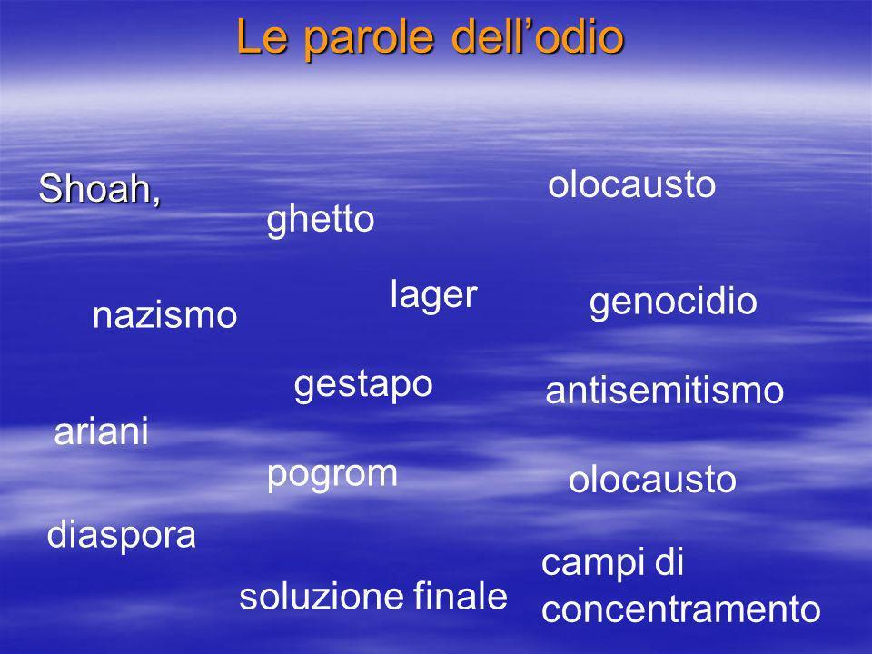 Le parole dellodio Shoah, ghetto lager nazismo genocidio gestapo olocausto antisemitismo ariani olocausto diaspora pogrom soluzione finale campi di concentramento