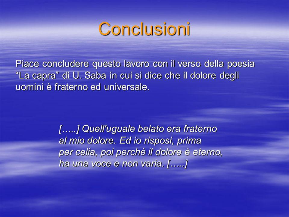 Conclusioni Piace concludere questo lavoro con il verso della poesia La capra di U.