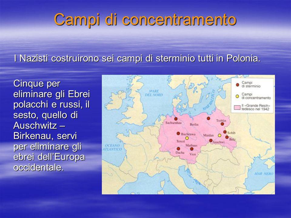Campi di concentramento I Nazisti costruirono sei campi di sterminio tutti in Polonia.