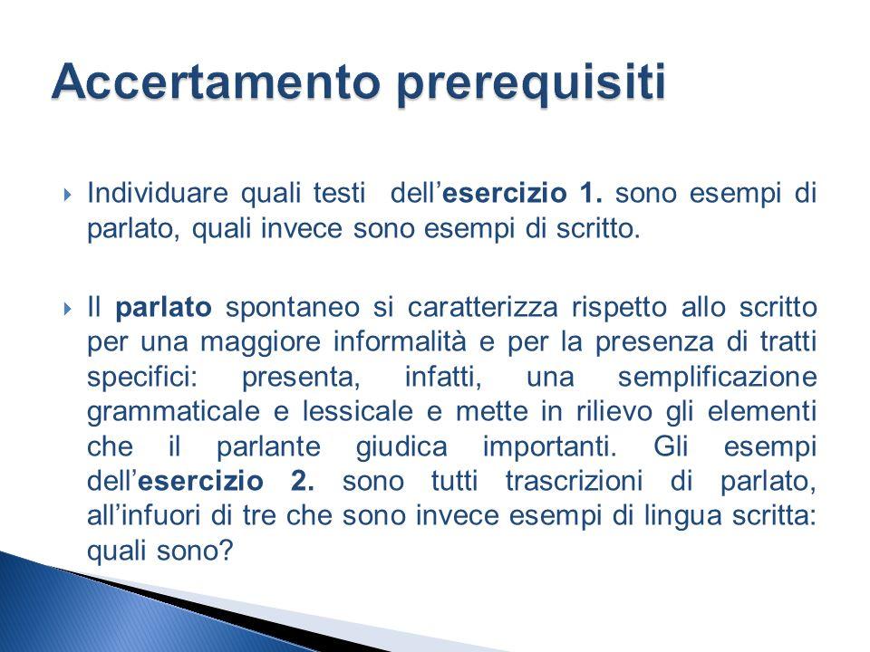 Individuare quali testi dellesercizio 1. sono esempi di parlato, quali invece sono esempi di scritto. Il parlato spontaneo si caratterizza rispetto al