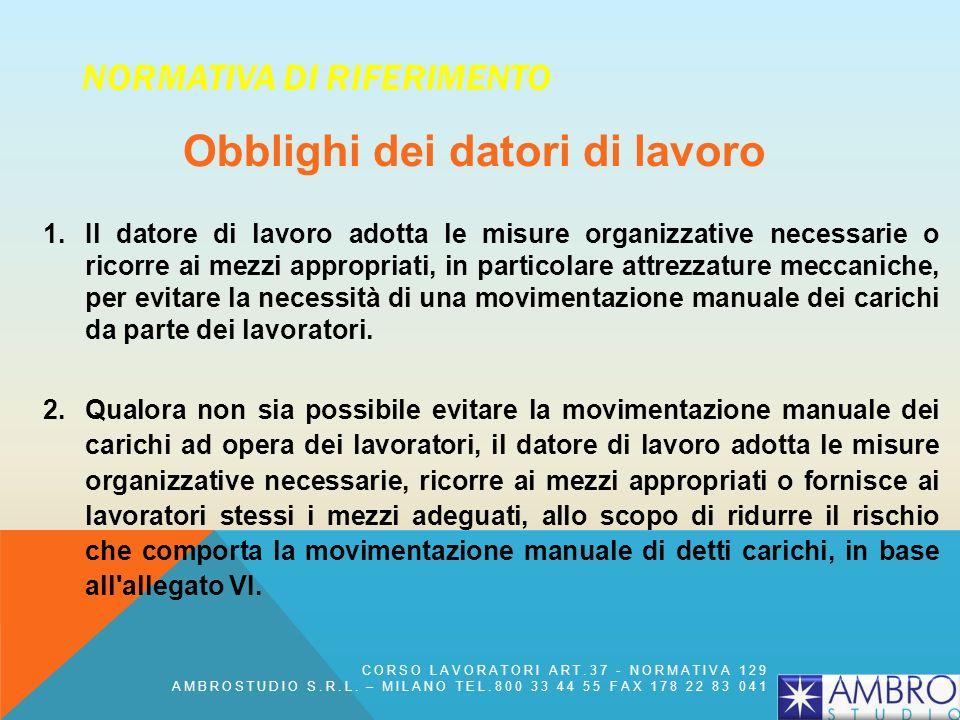 NORMATIVA DI RIFERIMENTO Obblighi dei datori di lavoro 1. Il datore di lavoro adotta le misure organizzative necessarie o ricorre ai mezzi appropriati