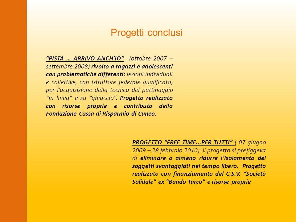 Progetti conclusi PISTA … ARRIVO ANCHIO (ottobre 2007 – settembre 2008) rivolto a ragazzi e adolescenti con problematiche differenti: lezioni individu