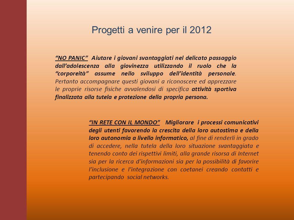 Progetti a venire per il 2012 NO PANIC Aiutare i giovani svantaggiati nel delicato passaggio dalladolescenza alla giovinezza utilizzando il ruolo che
