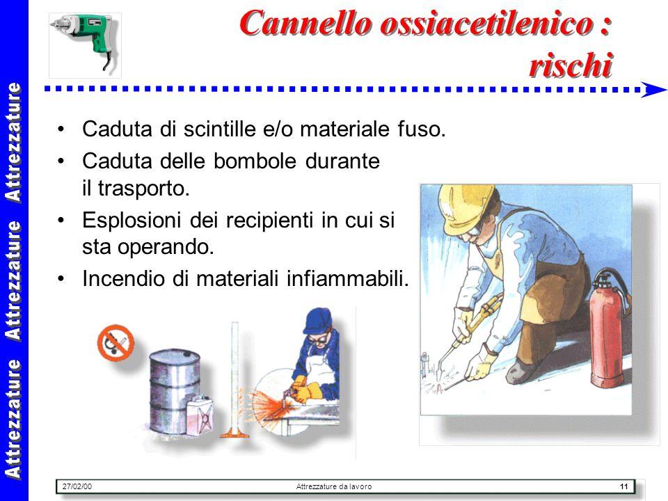 27/02/00Attrezzature da lavoro11 Cannello ossiacetilenico : rischi Caduta di scintille e/o materiale fuso. Caduta delle bombole durante il trasporto.