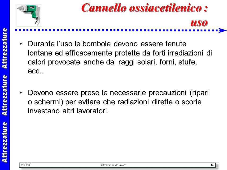 27/02/00Attrezzature da lavoro14 Cannello ossiacetilenico : uso Durante luso le bombole devono essere tenute lontane ed efficacemente protette da fort