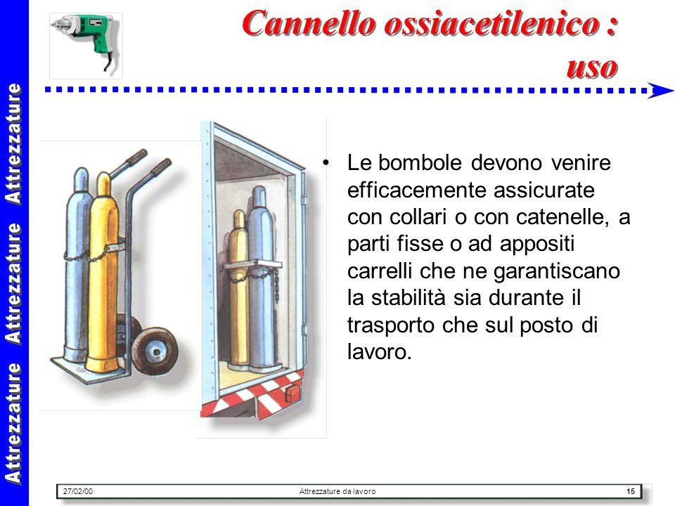 27/02/00Attrezzature da lavoro15 Cannello ossiacetilenico : uso Le bombole devono venire efficacemente assicurate con collari o con catenelle, a parti