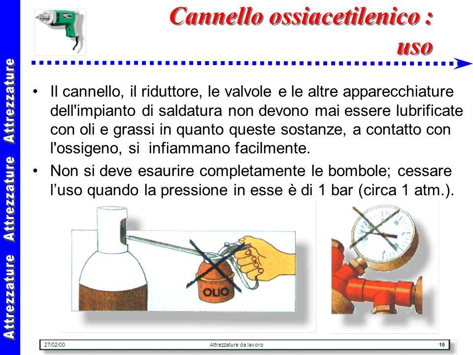 27/02/00Attrezzature da lavoro16 Cannello ossiacetilenico : uso Il cannello, il riduttore, le valvole e le altre apparecchiature dell'impianto di sald