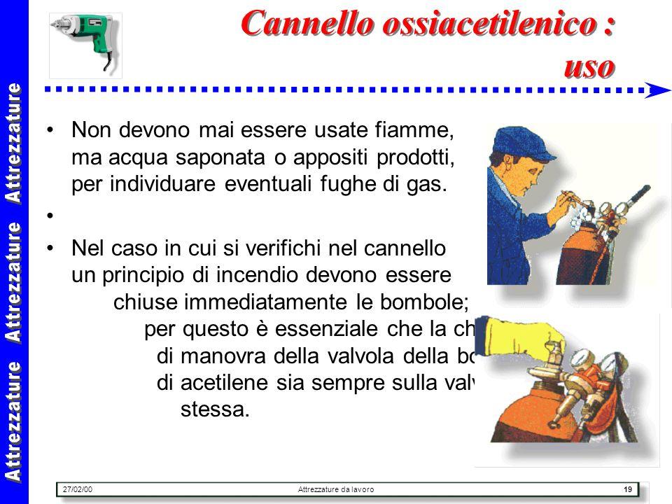 27/02/00Attrezzature da lavoro19 Cannello ossiacetilenico : uso Non devono mai essere usate fiamme, ma acqua saponata o appositi prodotti, per individ