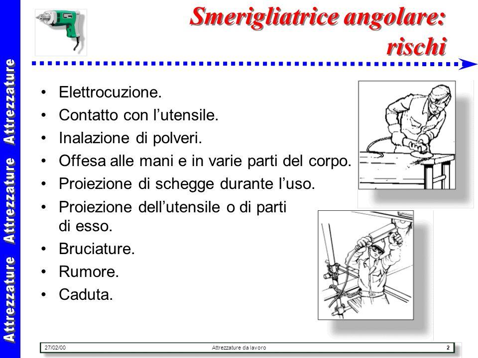 27/02/00Attrezzature da lavoro23 Cannello ossiacetilenico : uso Tuta ignifuga : durante luso del cannello per operazioni a carattere continuo.