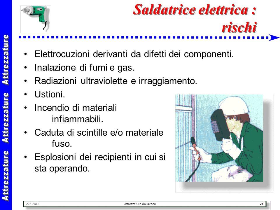 27/02/00Attrezzature da lavoro24 Saldatrice elettrica : rischi Elettrocuzioni derivanti da difetti dei componenti. Inalazione di fumi e gas. Radiazion