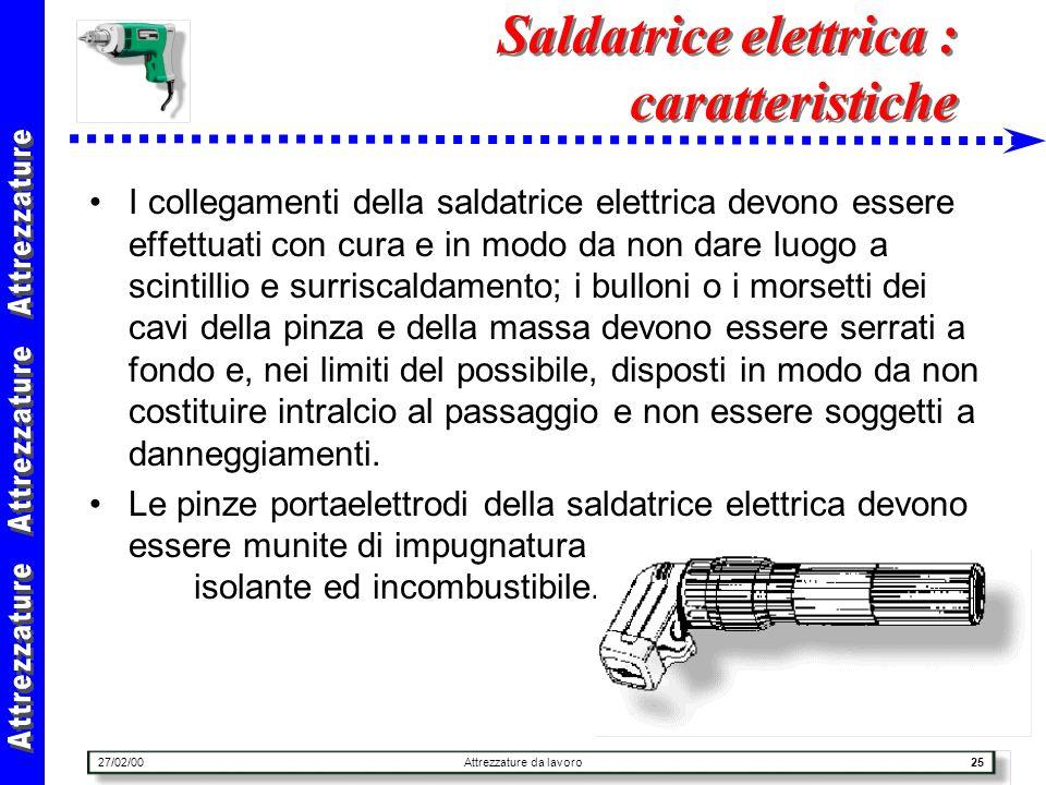 27/02/00Attrezzature da lavoro25 Saldatrice elettrica : caratteristiche I collegamenti della saldatrice elettrica devono essere effettuati con cura e