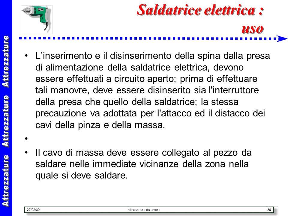 27/02/00Attrezzature da lavoro26 Saldatrice elettrica : uso Linserimento e il disinserimento della spina dalla presa di alimentazione della saldatrice