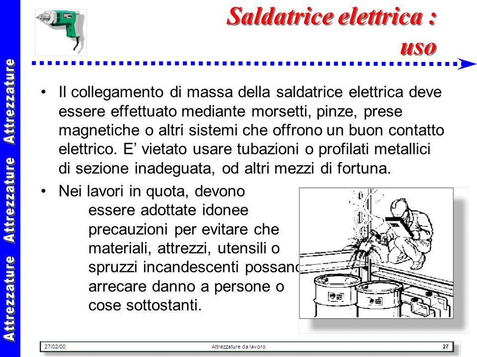 27/02/00Attrezzature da lavoro27 Saldatrice elettrica : uso Il collegamento di massa della saldatrice elettrica deve essere effettuato mediante morset