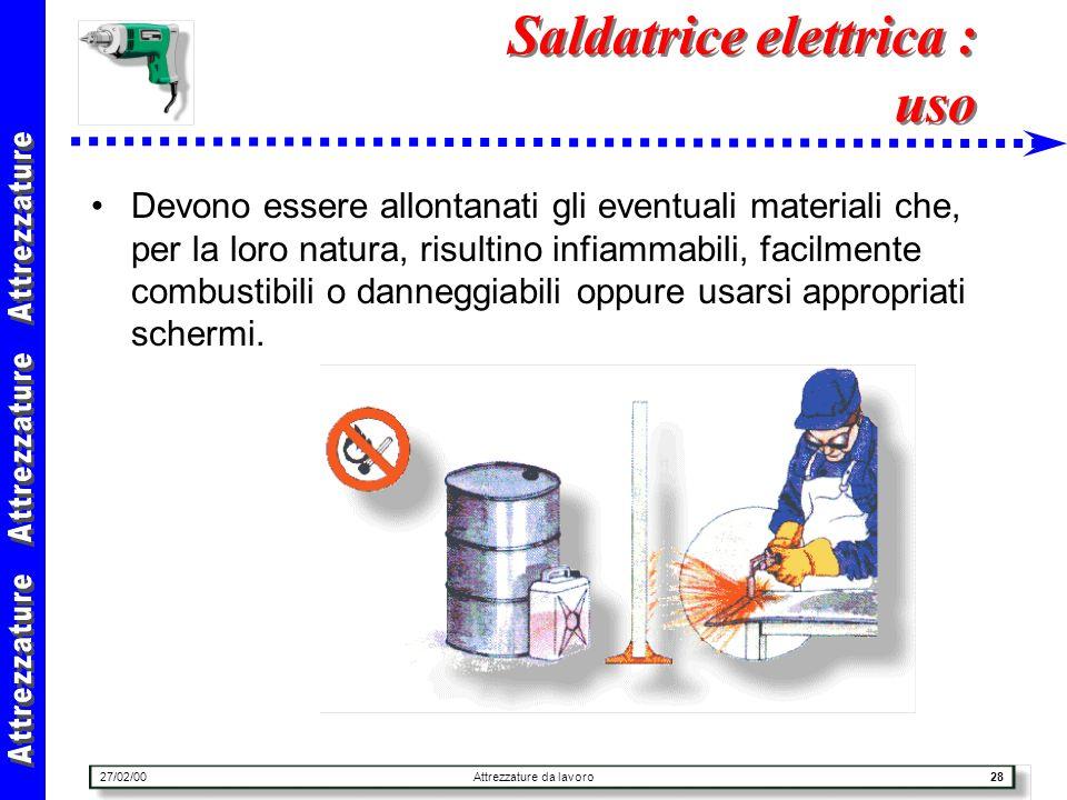 27/02/00Attrezzature da lavoro28 Saldatrice elettrica : uso Devono essere allontanati gli eventuali materiali che, per la loro natura, risultino infia