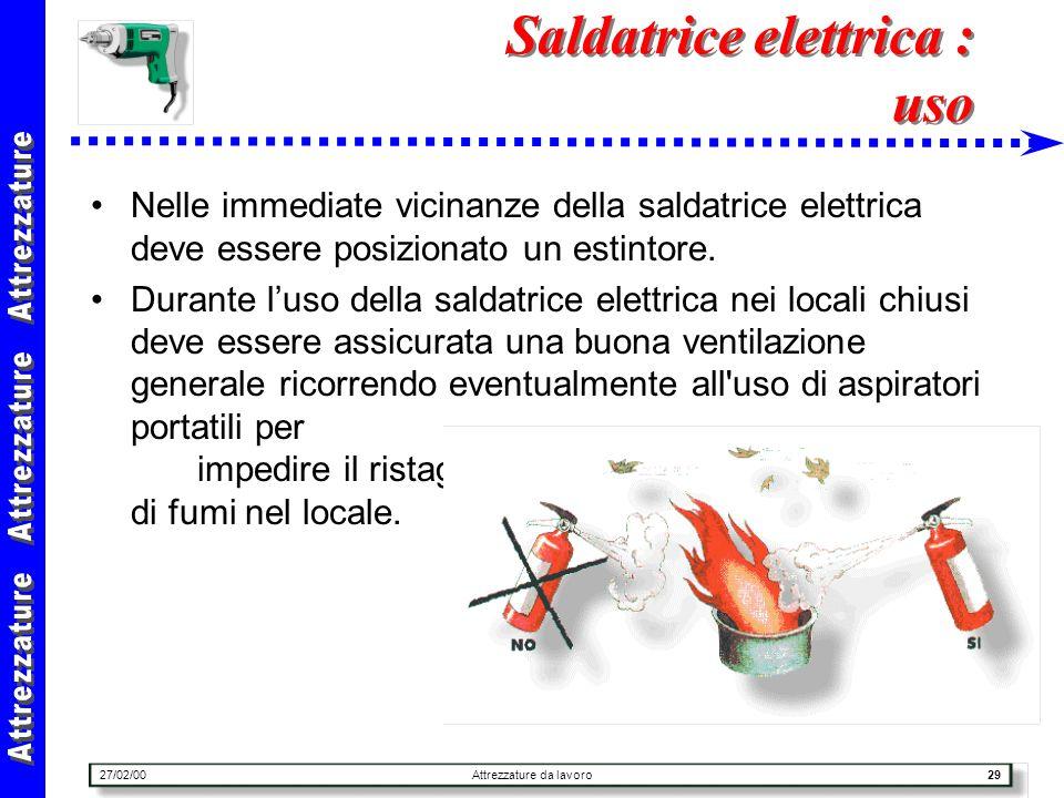 27/02/00Attrezzature da lavoro29 Saldatrice elettrica : uso Nelle immediate vicinanze della saldatrice elettrica deve essere posizionato un estintore.