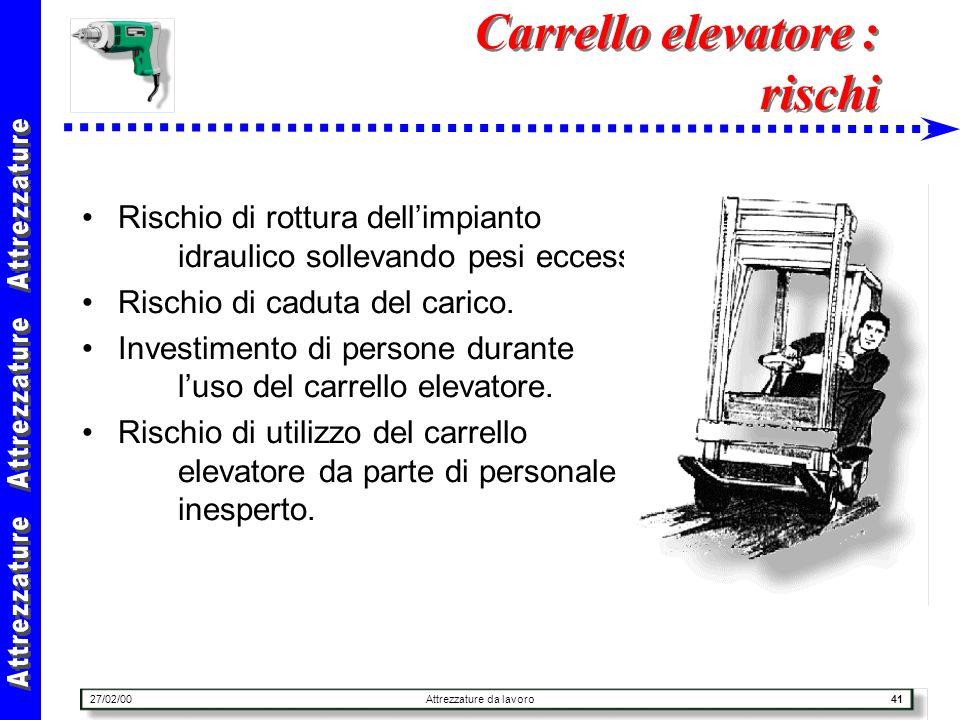 27/02/00Attrezzature da lavoro41 Carrello elevatore : rischi Rischio di rottura dellimpianto idraulico sollevando pesi eccessivi. Rischio di caduta de