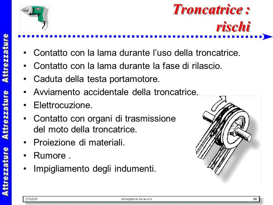 27/02/00Attrezzature da lavoro60 Troncatrice : rischi Contatto con la lama durante luso della troncatrice. Contatto con la lama durante la fase di ril