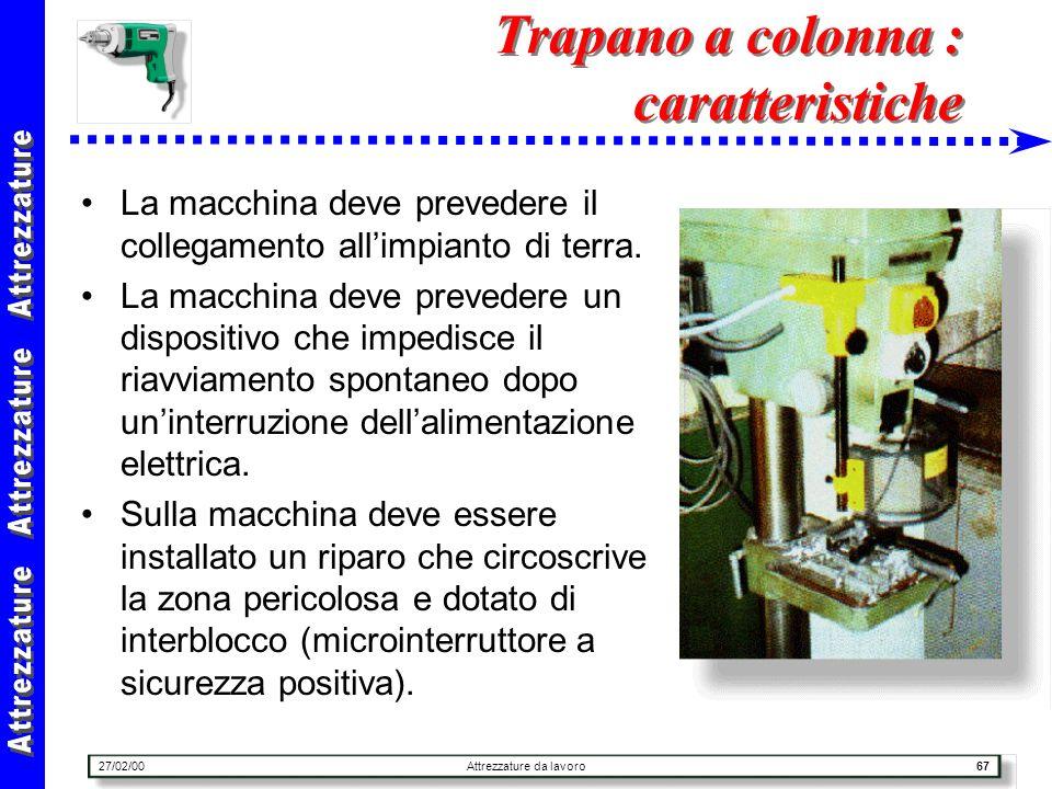 27/02/00Attrezzature da lavoro67 Trapano a colonna : caratteristiche La macchina deve prevedere il collegamento allimpianto di terra. La macchina deve