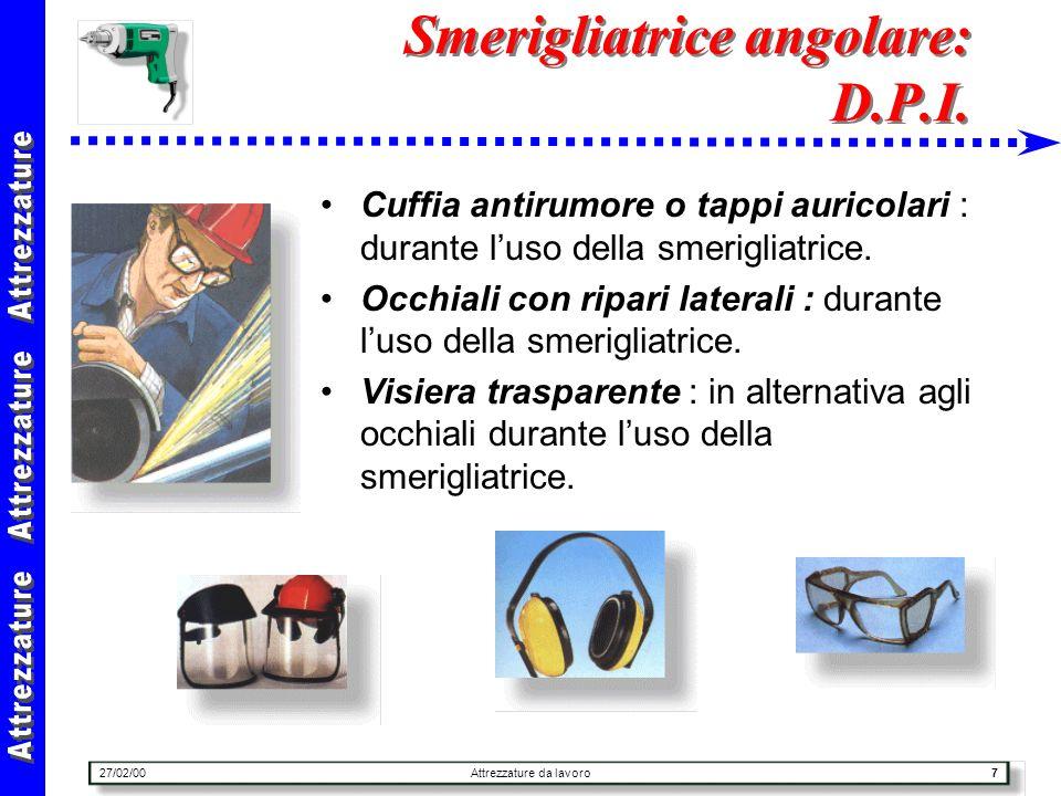 27/02/00Attrezzature da lavoro38 Trapano portatile : uso Il trapano va sempre utilizzato con la doppia impugnatura per evitare la torsione in caso di inceppamento della punta.