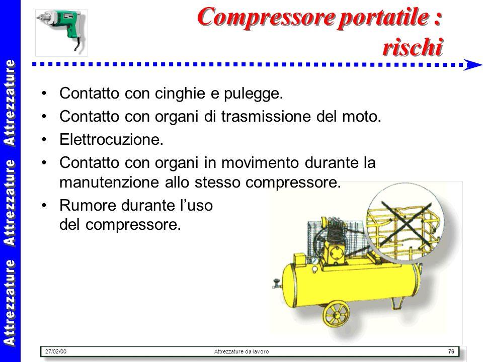 27/02/00Attrezzature da lavoro76 Compressore portatile : rischi Contatto con cinghie e pulegge. Contatto con organi di trasmissione del moto. Elettroc