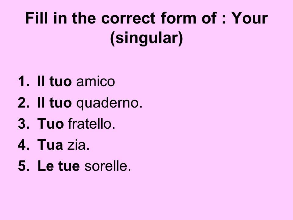 Fill in the correct form of : Your (singular) 1.Il tuo amico 2.Il tuo quaderno. 3.Tuo fratello. 4.Tua zia. 5.Le tue sorelle.