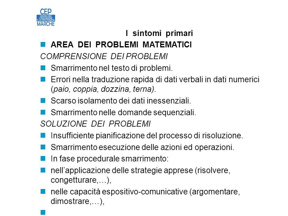 I sintomi primari AREA DEI PROBLEMI MATEMATICI COMPRENSIONE DEI PROBLEMI Smarrimento nel testo di problemi.