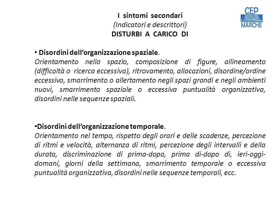 I sintomi secondari (Indicatori e descrittori) DISTURBI A CARICO DI Disordini dellorganizzazione spaziale.