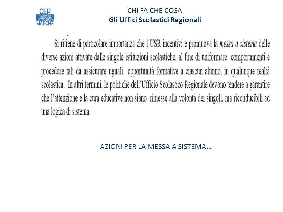 CHI FA CHE COSA Gli Uffici Scolastici Regionali AZIONI PER LA MESSA A SISTEMA….