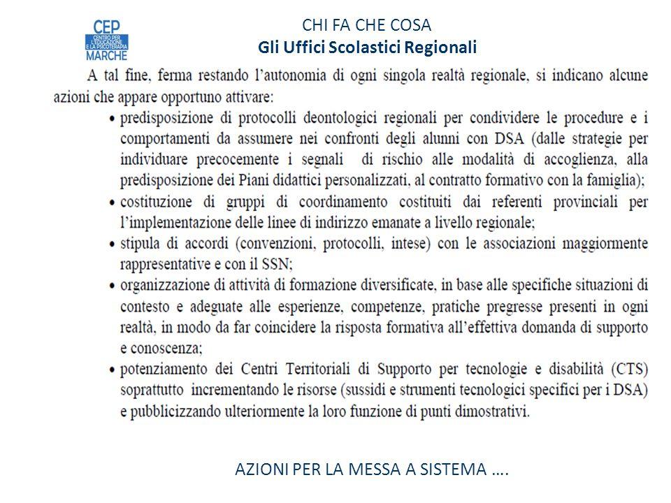 CHI FA CHE COSA Gli Uffici Scolastici Regionali AZIONI PER LA MESSA A SISTEMA ….