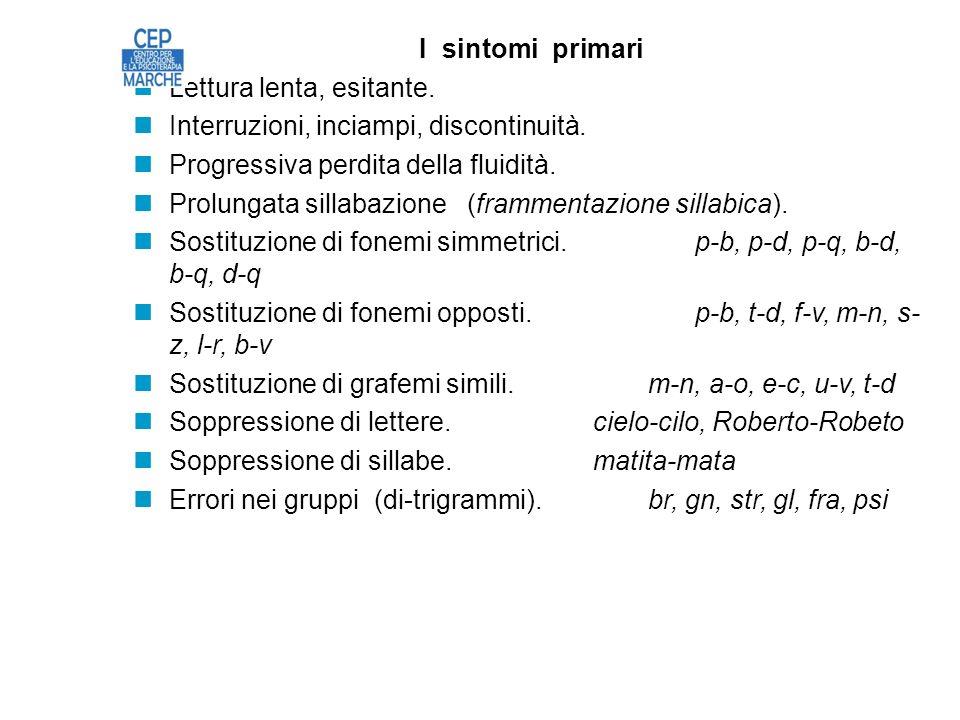 I sintomi primari Lettura lenta, esitante.Interruzioni, inciampi, discontinuità.