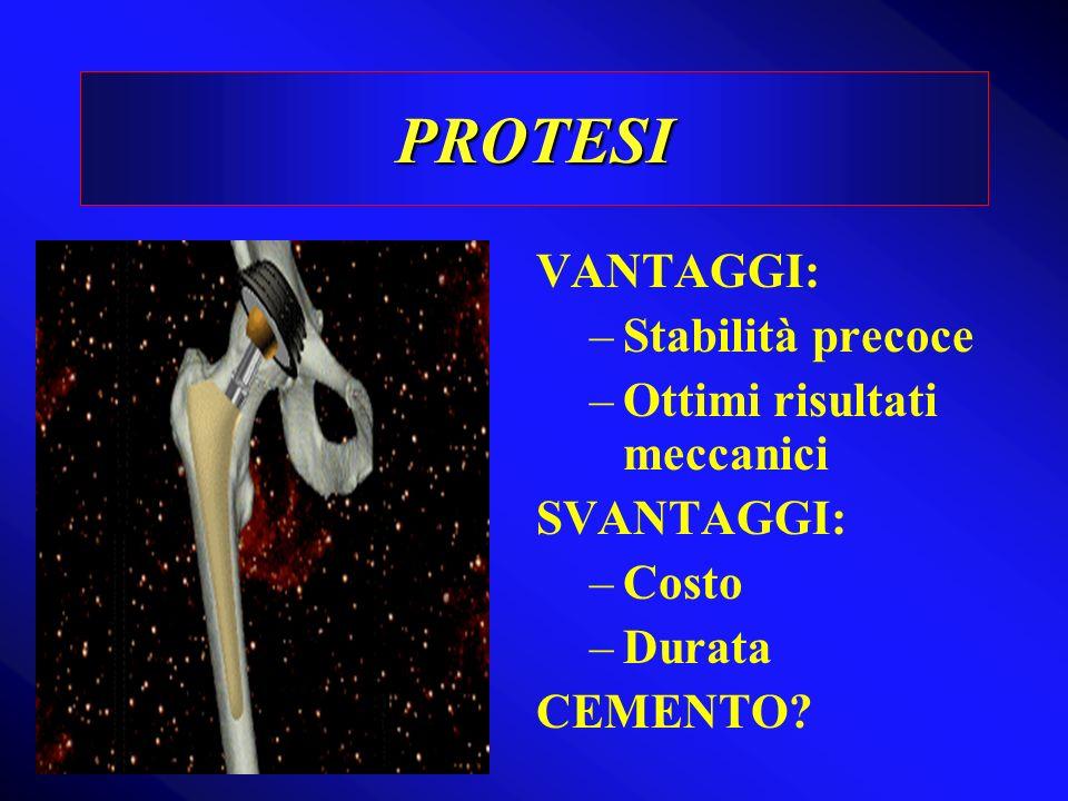 PROTESI VANTAGGI: –Stabilità precoce –Ottimi risultati meccanici SVANTAGGI: –Costo –Durata CEMENTO?