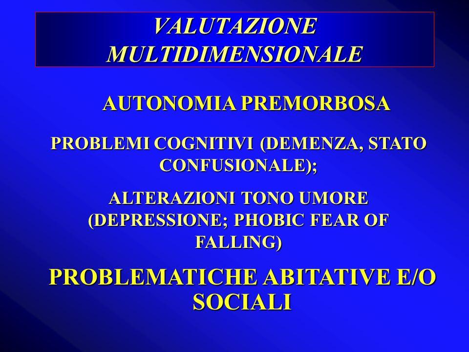 VALUTAZIONE MULTIDIMENSIONALE AUTONOMIA PREMORBOSA PROBLEMATICHE ABITATIVE E/O SOCIALI PROBLEMI COGNITIVI (DEMENZA, STATO CONFUSIONALE); ALTERAZIONI T