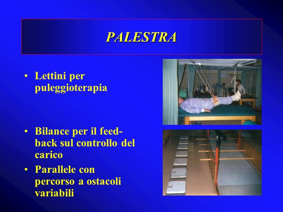 PALESTRA Lettini per puleggioterapia Bilance per il feed- back sul controllo del carico Parallele con percorso a ostacoli variabili