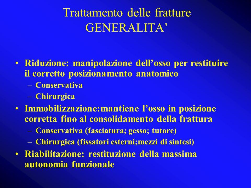 Trattamento delle fratture GENERALITA Riduzione: manipolazione dellosso per restituire il corretto posizionamento anatomico –Conservativa –Chirurgica