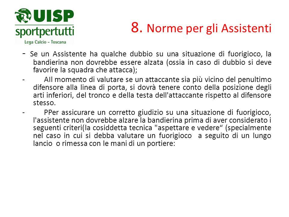 8. Norme per gli Assistenti - Se un Assistente ha qualche dubbio su una situazione di fuorigioco, la bandierina non dovrebbe essere alzata (ossia in c